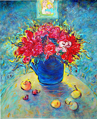 Painting - Peony In Blue Teakettle by Jianfen Wells