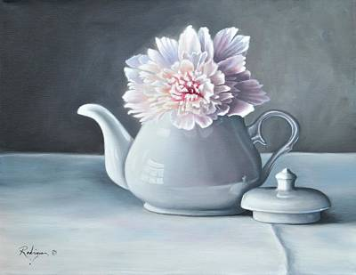 Teapot Painting - Peony In Teapot by Carole Rodrigue