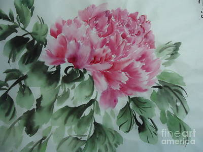 Art Print featuring the painting Peony425012-9 by Dongling Sun