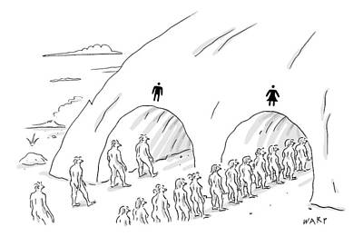 Drawing - People Are In Line At Two Tunnels Going by Kim Warp
