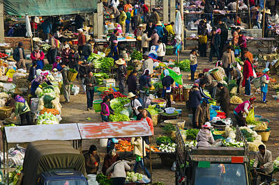 People At A Traditional Town Market Art Print by Panoramic Images