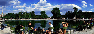 Jardin Photograph - People At Pond Side, Jardin Des by Panoramic Images