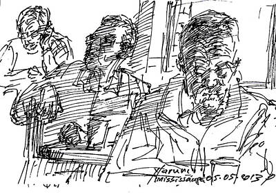 Coffee Drawing - People At The Cafe by Ylli Haruni