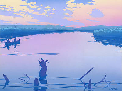abstract people Canoeing river sunset landscape 1980s pop art nouveau retro stylized painting print Original by Walt Curlee