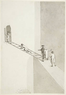 Indian Ink Photograph - People Climbing Across A Gap by British Library