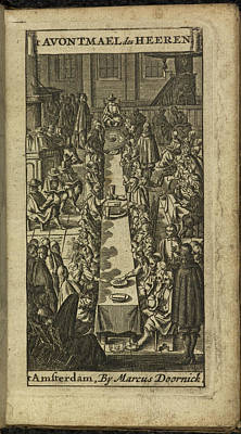 People Eating And Drinking Print by British Library