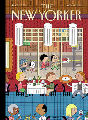Fast Food Painting - People Enjoying Dinner In The City by Ivan Brunetti