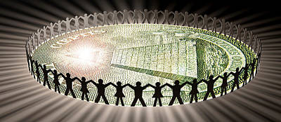 People In Circle Around Money Print by Panoramic Images