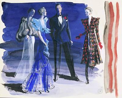 Male Likeness Digital Art - People In Evening Wear by Ren? Bou?t-Willaumez