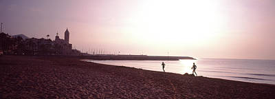 Jogging Photograph - People Jogging On Beach, Sitges by Panoramic Images