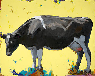Yellow Wall Art - Painting - People Like Cows #12 by David Palmer