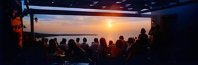 People Looking At Sunset, Santorini Art Print by Panoramic Images