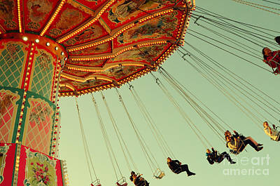 People On A Vintage Carousel At The Octoberfest In Munich Art Print by Sabine Jacobs