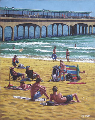 Painting - people on Bournemouth beach Boys looking by Martin Davey
