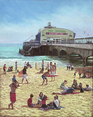 Painting - people on Bournemouth beach Pier theatre by Martin Davey