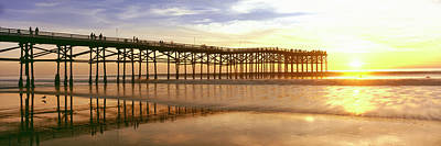 Enjoyment Photograph - People On Pier At Sunset, Crystal Pier by Panoramic Images