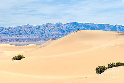 People On Top Of A Large Sand Dune In Death Valley National Park Art Print by Jamie Pham