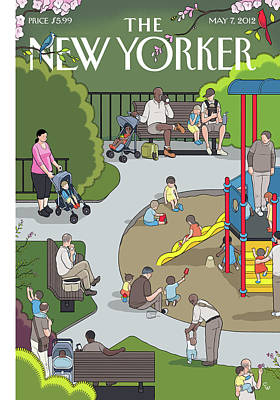 People Playing At A Playground Withtheir Kids Art Print by Chris Ware