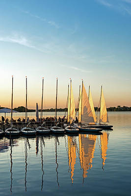 Photograph - People Relaxing At Yacht Harbor At by Thomas Winz