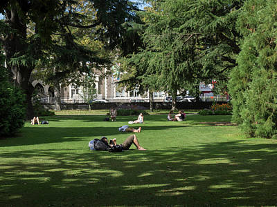 People Relaxing In Hagley Park Art Print