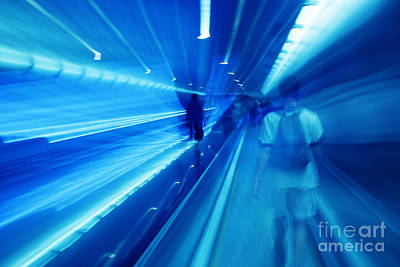Zoom Photograph - People Rush In Subway. by Michal Bednarek