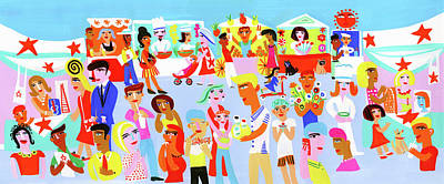 People Digital Art - People Shopping And Eating In Vibrant by Christopher Corr