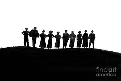 Photograph - People Silhouette On A Hill Circa 1920 by California Views Archives Mr Pat Hathaway Archives
