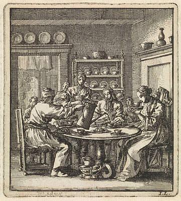 People Sit At A Table Drinking Coffee, Print Maker Jan Art Print by Jan Luyken And Wed. Pieter Arentsz & Cornelis Van Der Sys Ii