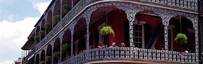 Food And Drink Photograph - People Sitting In A Balcony, French by Panoramic Images