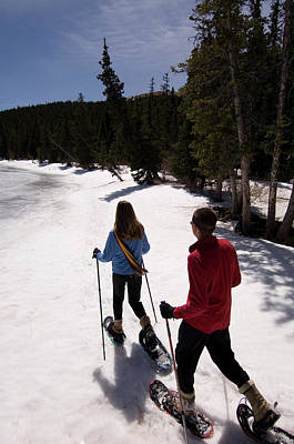 Echo Lake Photograph - People Snowshoeing By Echo Lake by Tom Bol