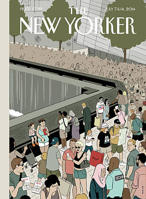 Museums Painting - People Visit The 9/11 Memorial by Adrian Tomine
