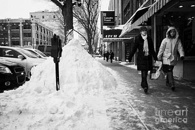 people walking along clear sidewalks in downtown city street Saskatoon Saskatchewan Canada Art Print