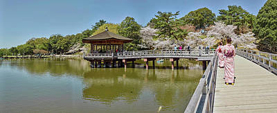 Nara Photograph - People Walking On Bridge Over A Pond by Panoramic Images