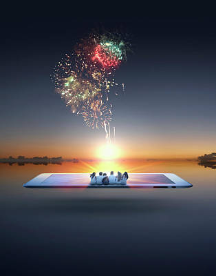 People Watching Fireworks Erupt From Art Print by Colin Anderson Productions Pty Ltd