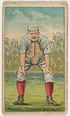 Baseball Cards Drawing - Peoples, Catcher, Brooklyn by Issued by D. Buchner & Co., New York