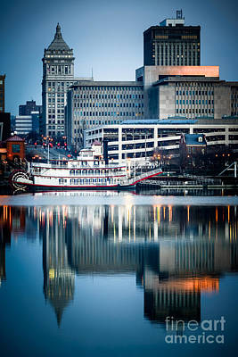 Peoria Illinois Cityscape And Riverboat Art Print by Paul Velgos