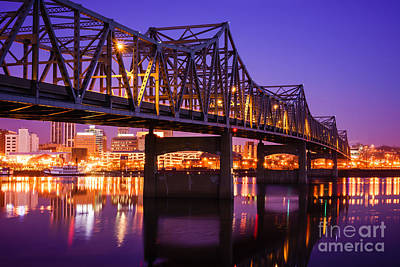 Peoria Illinois Murray Baker Bridge At Night Art Print