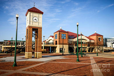 Peoria Illinois Riverfront Businesses And Clock Tower Art Print by Paul Velgos