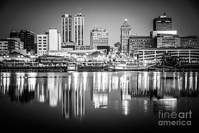 Riverfront Photograph - Peoria Illinois Skyline At Night In Black And White by Paul Velgos