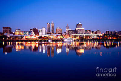 City Of Color Photograph - Peoria Illinois Skyline At Night by Paul Velgos