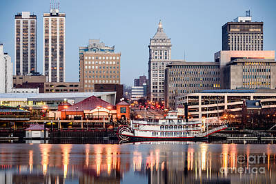 Riverboat Photograph - Peoria Illinois Skyline by Paul Velgos