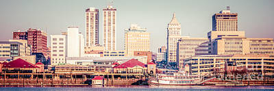 Riverboat Photograph - Peoria Illinois Skyline Retro Panorama Picture by Paul Velgos