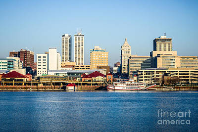 Riverboat Photograph - Peoria Skyline And Downtown City Buildings by Paul Velgos