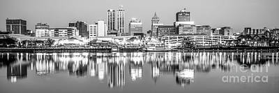 Midwest Photograph - Peoria Skyline Panorama Black And White Photo by Paul Velgos