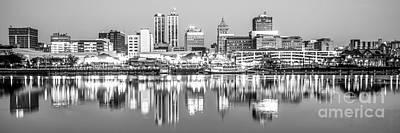 Peoria Skyline Panorama Black And White Photo Art Print by Paul Velgos