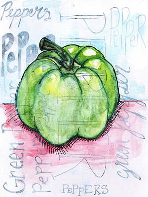 Kitchen Watercolor Painting - Pepper by Anne Seay