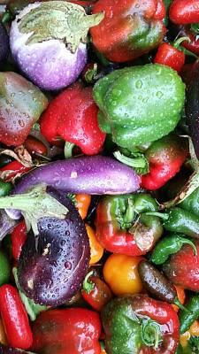 Pepper Eggplant Mix Art Print by Mark Victors