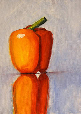 Painting - Pepper Reflection Still Life by Nancy Merkle