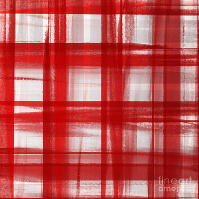 Andee Design Red Digital Art - Peppermint Plaid 1 Abstract by Andee Design