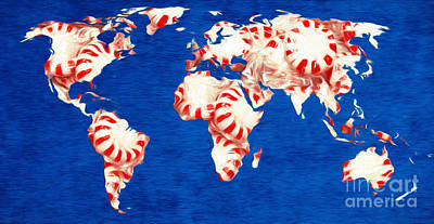 Andee Design Red Digital Art - Peppermint World Painting by Andee Design